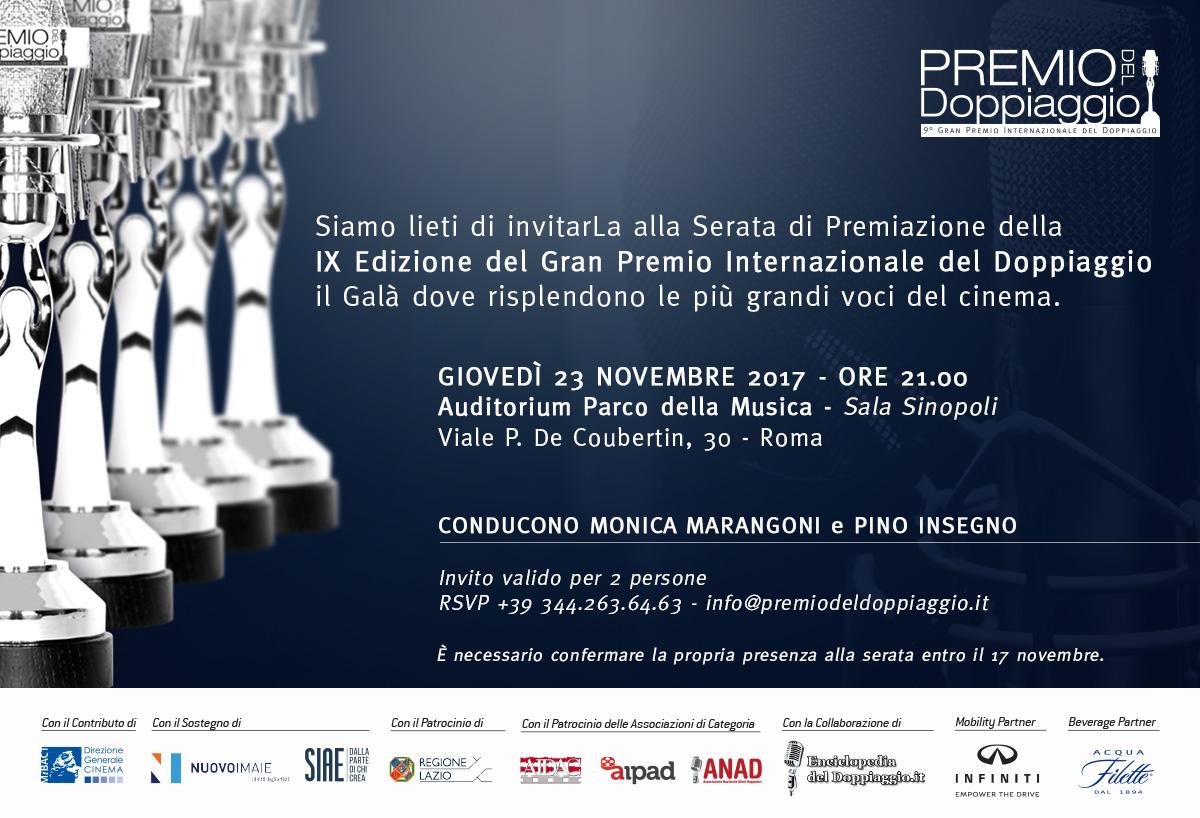 Invito IX Premio Internazionale del Doppiaggio